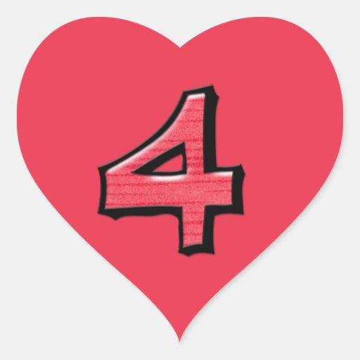 Pegatina tonto del corazón del rojo del número 4
