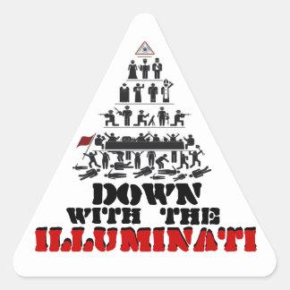 Pegatina Triangular Abajo con los pegatinas de Illuminati