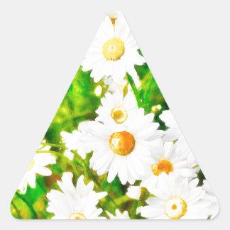 Pegatina Triangular Acuarela de las margaritas