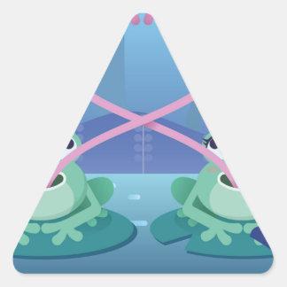 Pegatina Triangular amantes de la rana del día de San Valentín