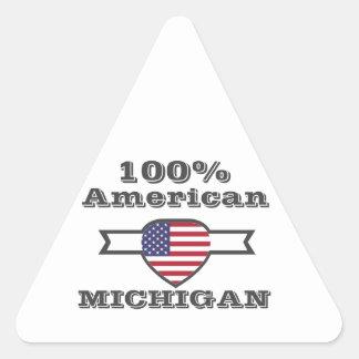 Pegatina Triangular Americano del 100%, Michigan