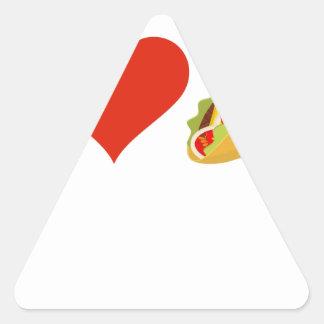 Pegatina Triangular Amo el Tacos para los amantes del Taco