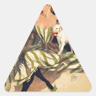 Pegatina Triangular Anuncio del francés del vintage
