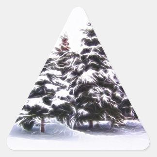 Pegatina Triangular Árbol de pino 4 con nieve