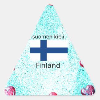 Pegatina Triangular Bandera de Finlandia y diseño finlandés de la