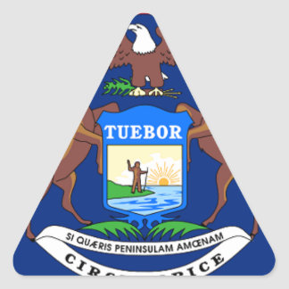 Pegatina Triangular Bandera de Michigan