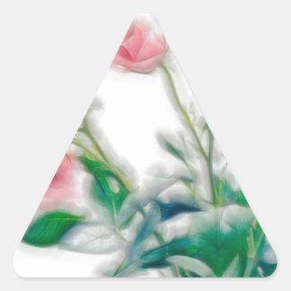 Pegatina Triangular Bosquejo del ramo color de rosa