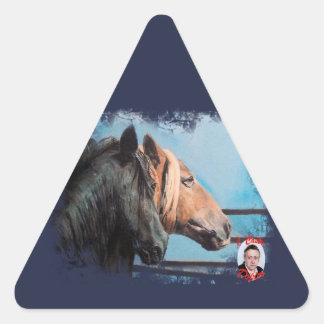Pegatina Triangular Caballos/Cabalos/Horses
