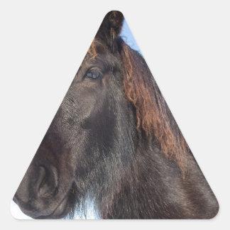 Pegatina Triangular Cabeza del retrato del caballo negro del Frisian