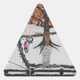 Pegatina Triangular Cabina de la selva virgen