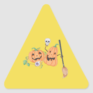 Pegatina Triangular Calabazas lindas de Halloween