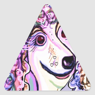 Pegatina Triangular Caniche de la lavanda