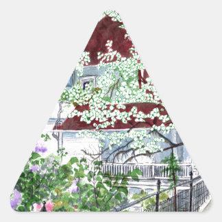 Pegatina Triangular Casa del Victorian de Eureka Springs