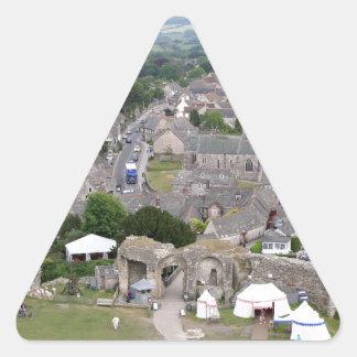 Pegatina Triangular Castillo de Corfe, Dorset, Inglaterra