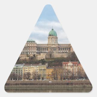 Pegatina Triangular Castillo Hungría Budapest de Buda en el día