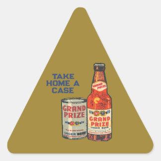 Pegatina Triangular Cerveza de cerveza dorada premiada magnífica para