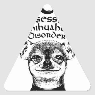 Pegatina Triangular Chihuahua obsesiva de OCD