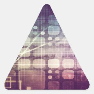 Pegatina Triangular Concepto abstracto futurista en tecnología