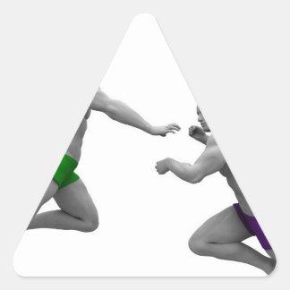 Pegatina Triangular Concepto de los artes marciales para luchar y la