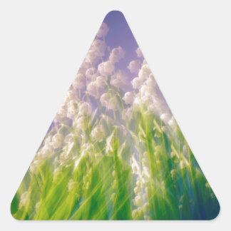 Pegatina Triangular Danza del lirio de los valles en azul