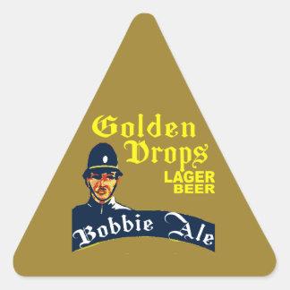 Pegatina Triangular Descensos de oro/cerveza inglesa de Bobbie