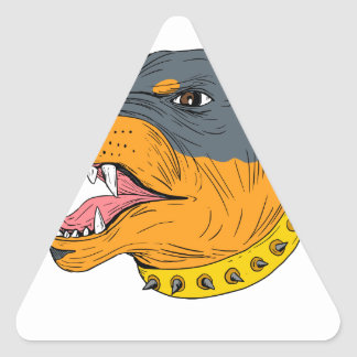 Pegatina Triangular Dibujo agresivo de la cabeza de perro guardián de