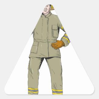 Pegatina Triangular Dibujo americano del hacha del fuego del bombero