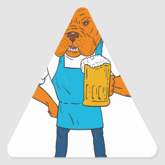 Pegatina Triangular Dibujo animado de la mascota de la taza del