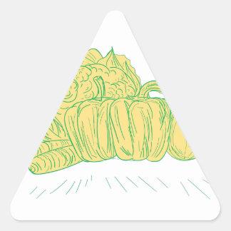 Pegatina Triangular Dibujo de la cebolla del pimiento de Brocolli