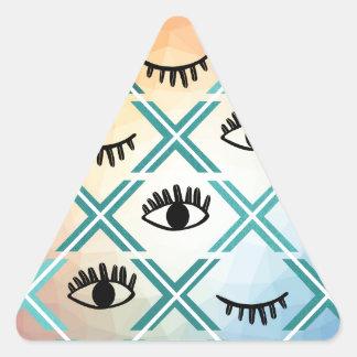 Pegatina Triangular Diseño colorido original de los ojos