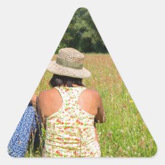 Pegatina Triangular Dos amigos que se sientan junto en meadow.JPG