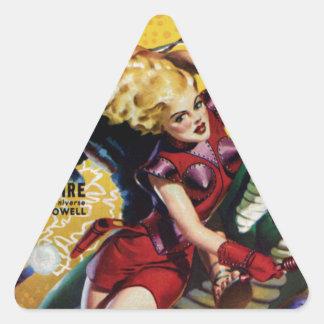 Pegatina Triangular El Blonde heroico monta un dinosaurio