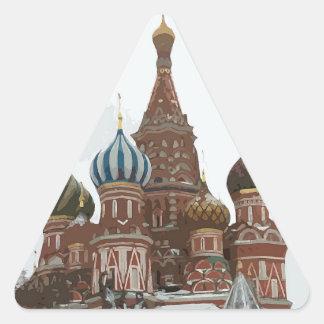 Pegatina Triangular El cathedral_russo de la albahaca del santo