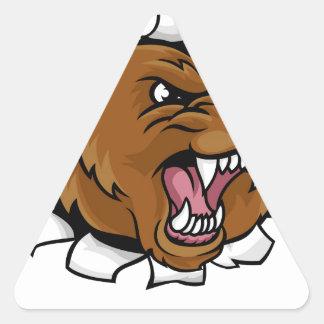 Pegatina Triangular El fondo enojado de la mascota del oso agarra