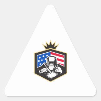 Pegatina Triangular Escudo de la bandera de los E.E.U.U. de la