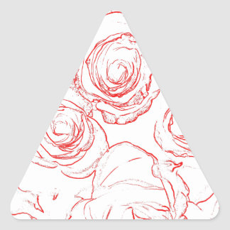 Pegatina Triangular Esquemas de los rosas rojos