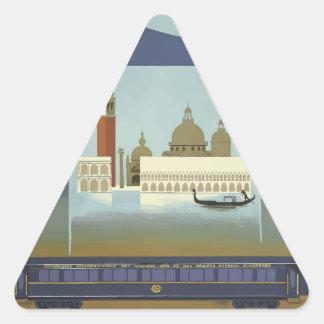 Pegatina Triangular Expreso de Venecia Oriente del viaje del vintage