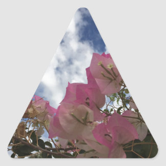 Pegatina Triangular flores rosadas contra un cielo azul