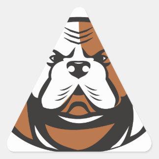 Pegatina Triangular Frente americano de la cabeza del dogo retro
