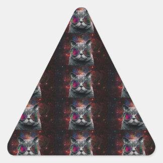 Pegatina Triangular Gafas que llevan del gato del espacio delante de