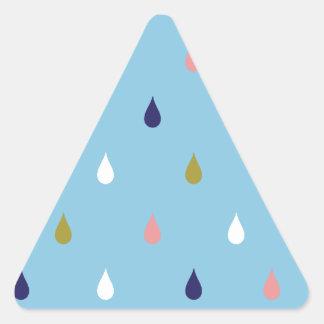 Pegatina Triangular Gotas de lluvia felices