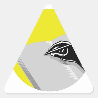 Pegatina Triangular Grabar en madera del círculo del diario de la