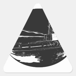 Pegatina Triangular Grabar en madera del óvalo del remolcador del río