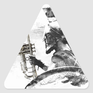 Pegatina Triangular Guerrero de la trompeta