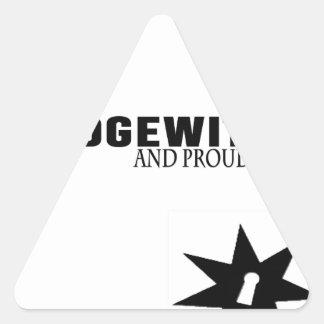 Pegatina Triangular Hedgewitch y orgulloso de él