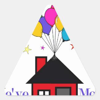 Pegatina Triangular Hemos movido el nuevo hogar