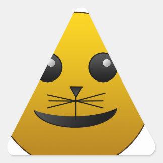 Pegatina Triangular hermoso feliz del bebé del gato de la alegría
