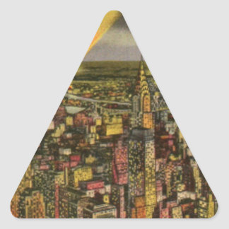 Pegatina Triangular Horizonte de New York City del vintage