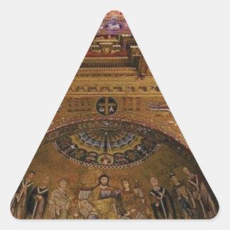 Pegatina Triangular iglesia adornada dentro
