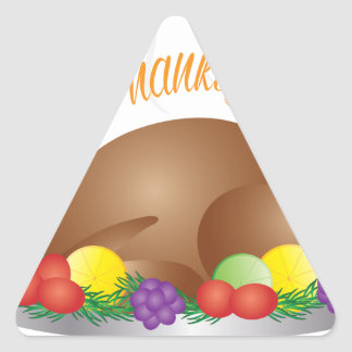 Pegatina Triangular Ilustracion cocido día de la cena de Turquía de la